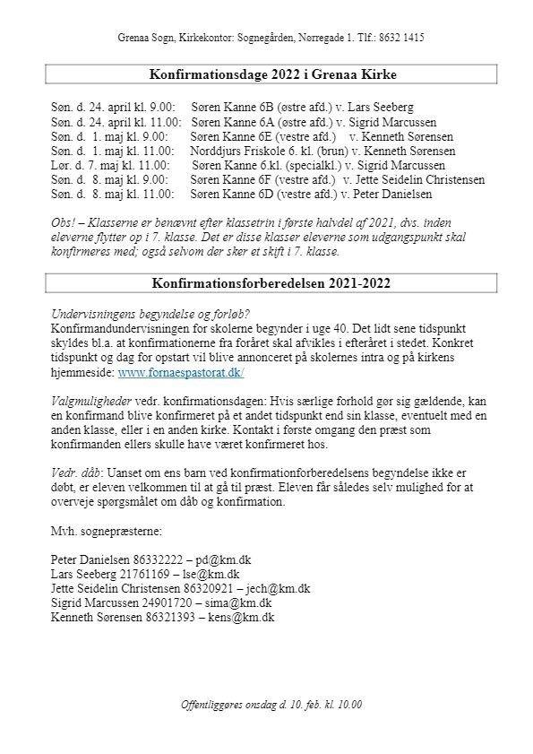 Billede af konfirmationsdatoer for 2022 samt praktiske oplysninger