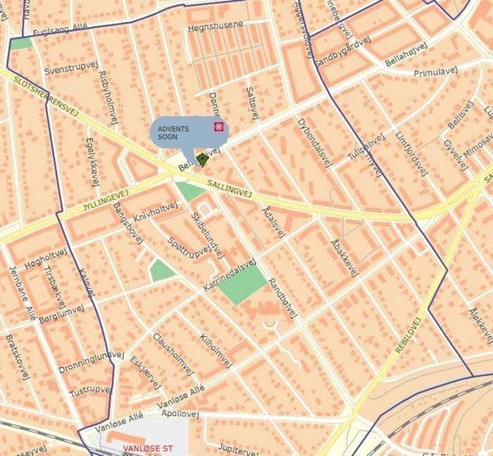 Kort der viser Adventskirkens placering