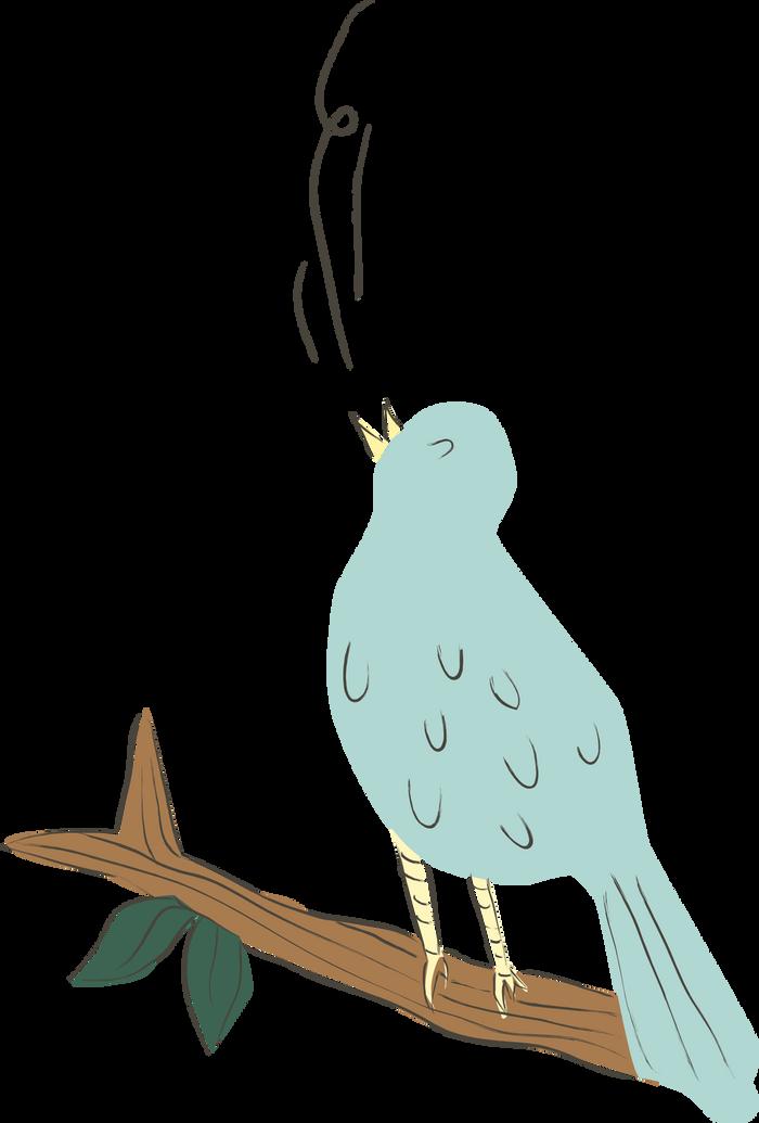 Ilustration af en fugel på en gren