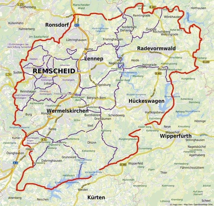 Landkarte mit den Grenzen des Kirchenkreises Lennep