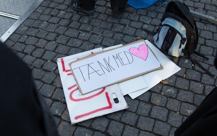 Skilte fra diakoniens dag på Christianshavns Torv