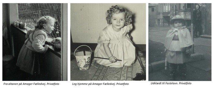 Fotocollage tre barndomsfotos