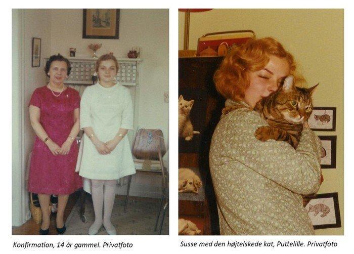 Fotocollage Konfirmation og Susse med sin elskede kat