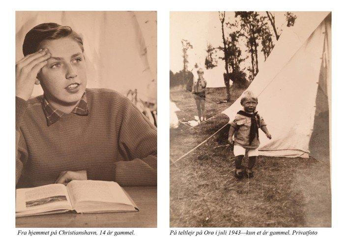 Fotocollage Vilhelm G Jensen som ung og på ferielejr