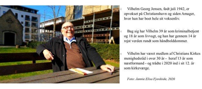 Fotocollage Vilhelm Georg Jensen i kirkehaven og faktaboks