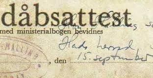 Billede af en dåbsattest