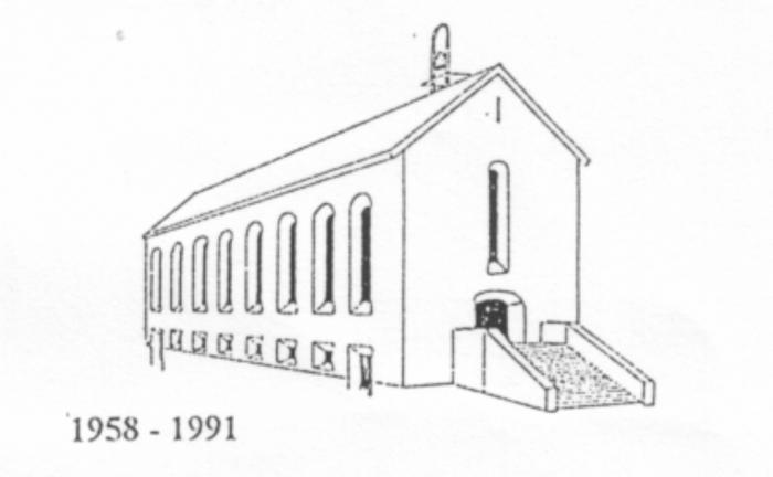 Stregtegning af den færdige kirke (dog uden tårnet)