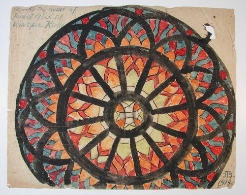 Skitse af Vanløse Kirkes Mosaikroset fra 1909