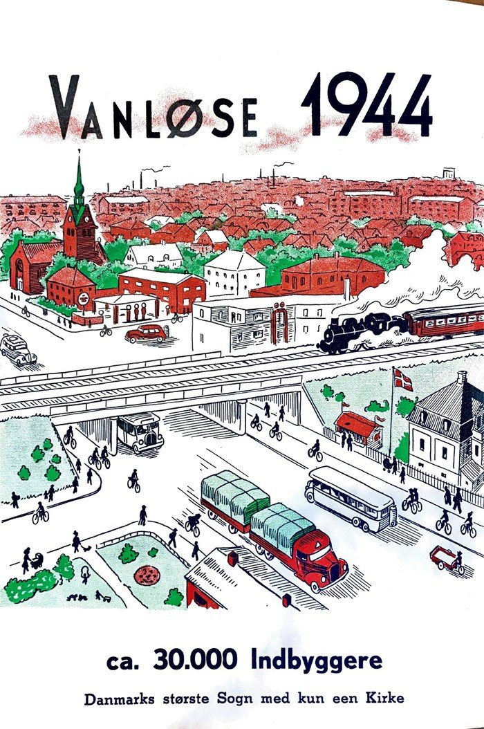 Tegning af Vanløse Kirke 1944