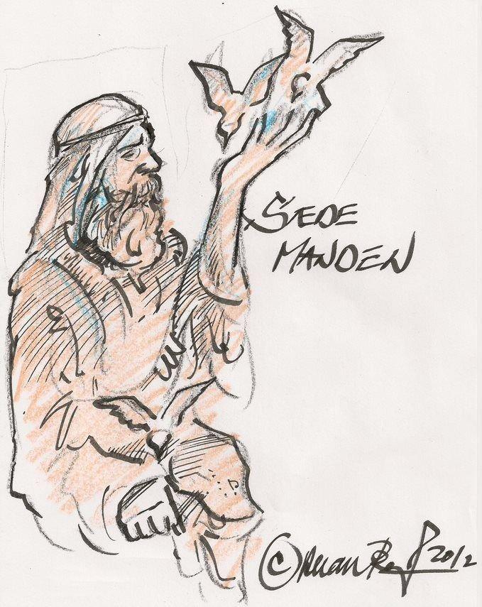 Skitse af sædemanden foran Vanløse Kirke