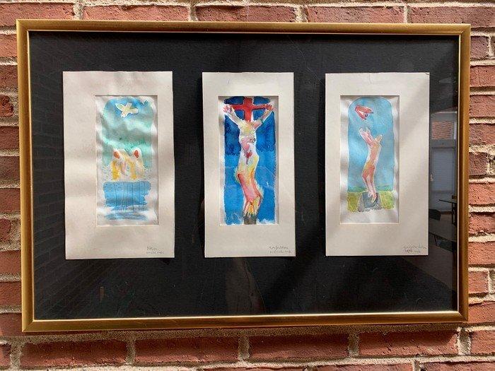 Skitse af glasmosaikkerne af Arne Haugen Sørensen fra Sognehuset