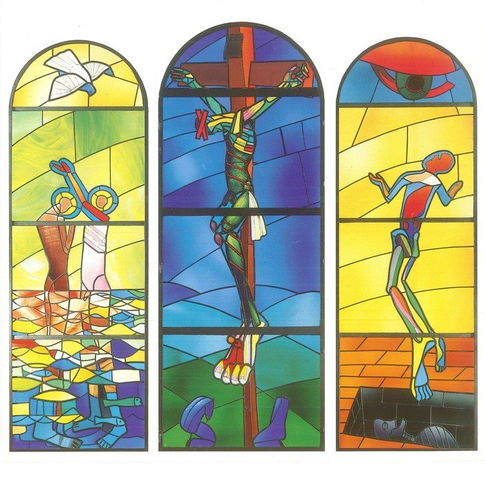 Skitse af de tre glasmosaikker i Vanløse Kirke