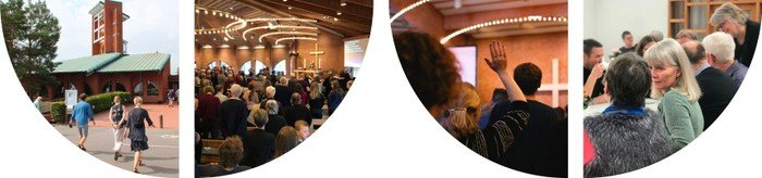 Collage med billeder fra kirkens aktiviteter, gudstjeneste, kaffehygge m.v.