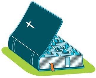 Billede af en bibel med indbygget labyrint
