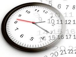 Analogt ur og transparant kalenderblad
