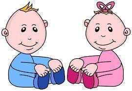 Tegning af to babyer
