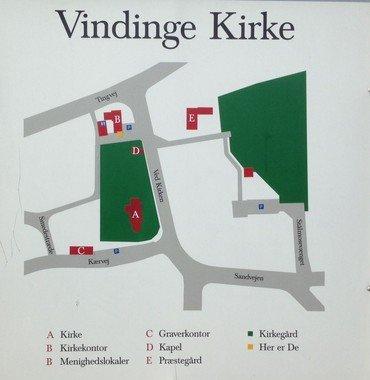 Oversigtskort over parkeringsmuligheder ved Vindinge kirke