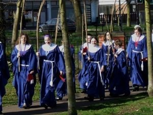 Junior Choir at a special service in the village on Palm Sunday