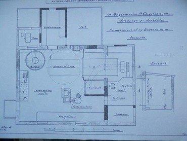 Tegning fra 16.11.1925 af den nye bageovn med kedel, fyrplads, kulrum, æltemaskine, æltekar og brødkammer.