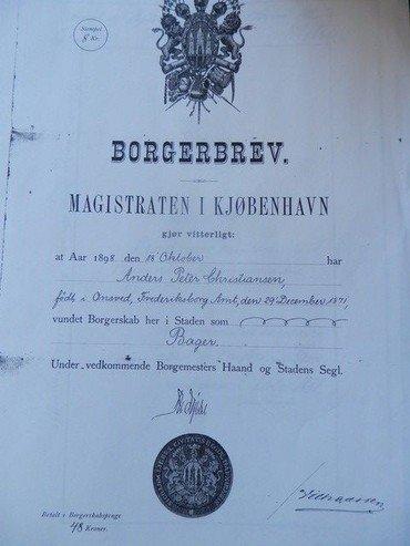 Peter Christiansens borgerbrev som bager fra Københavns Magistrat 1898.