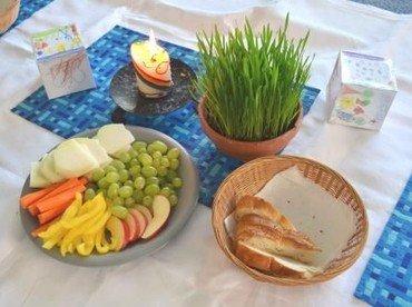 Kinderkirche - gedeckter Frühstückstisch mit Kerze und Gebetswürfel
