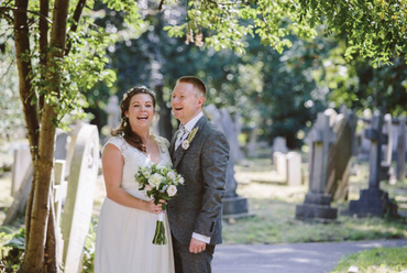 A happy couple in the churchyard