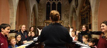 Helen rehearsing the choristers