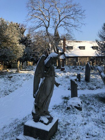 St Mary's churchyard in snow