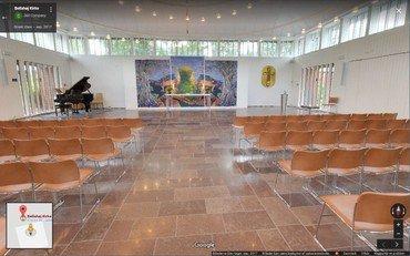 Indenfor i Bellahøj KIrke med Google view