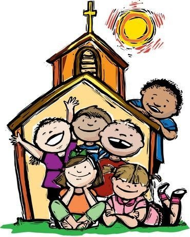 tegning af legende børn i kirke