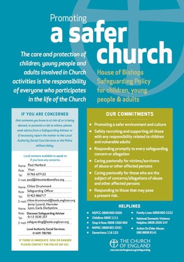 Promoting a Safer Church Parish Poster with contact details