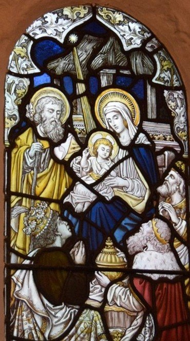 Adoration of the Magi - window in Bell Tower, St Mary's Merton
