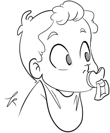 Tegning af baby med sut og store nysgerrige øjne