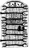 Tegning af den inderste kirkedør fra Næsbyhovedbroby kirke. Døren er jern med vikinge bogstaver.