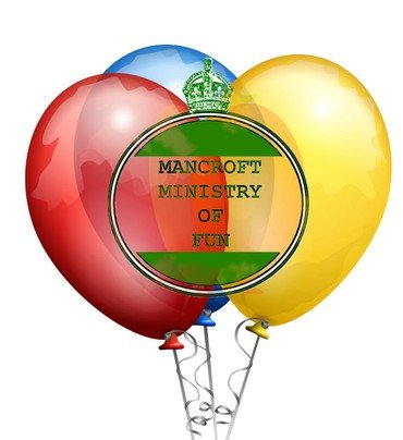 Mancroft Ministry of Fun logo in front of some balloons