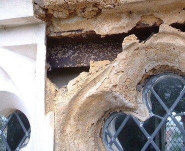 close up of damaged stonework