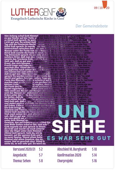 Gemeindebote der Lutherischen Kirche in Genf, September, Oktober 2020