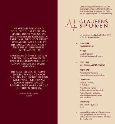 """Einladung zur Ausstellungseröffnung """"Glaubensspuren"""" am 22.09.2019"""