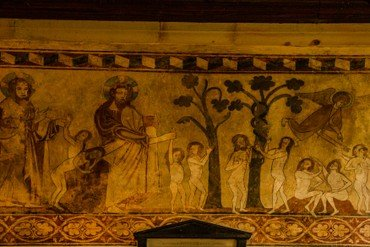 One of the murals at Easby church