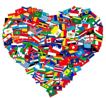heart shape made of national flags