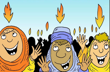 people with flames above their heads