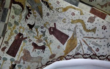 Figur 10. Østhvælvet syd: Gud skaber planter og dyr, landdyr til venstre, havdyr til højre.