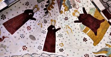 Østhvælvet vest: Gud skaber Adam (til venstre) og Eva (i midten) og sætter sig velsignende og tilfreds på tronen (til højre)