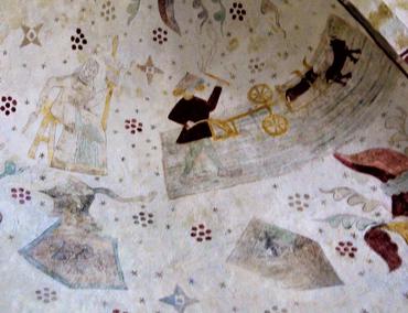 Vesthvælvet vest: Adam og Eva arbejder i deres ansigts sved: Eva spinder til venstre, Adam pløjer til højre. Under billederne våbenskjold og bomærke.