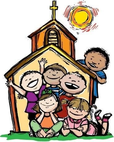 Tegning af kirke med børn i kirken