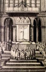 Kong Frederik IIs kroning i Vor Frue kirkes kor i 1559