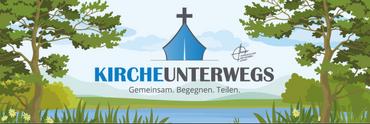 Zeltkirche mit Kreuz über blauem Wasser gezeichnet