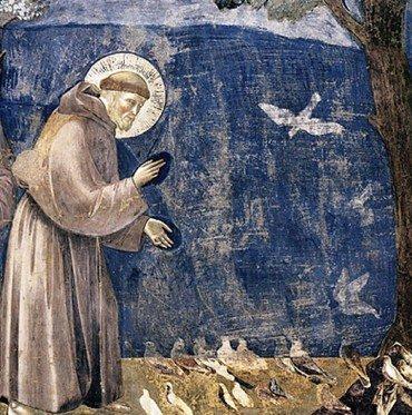 Vogelpredigt des Franziskus v. Assisi, Giotto di Bondone, Detail