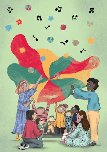 Tegning af børn og voksne der sidder under en faldskærm med noder i loftet