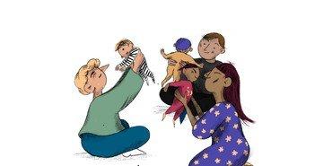 Tegning af voksne, som løfter små babyer op i luften.